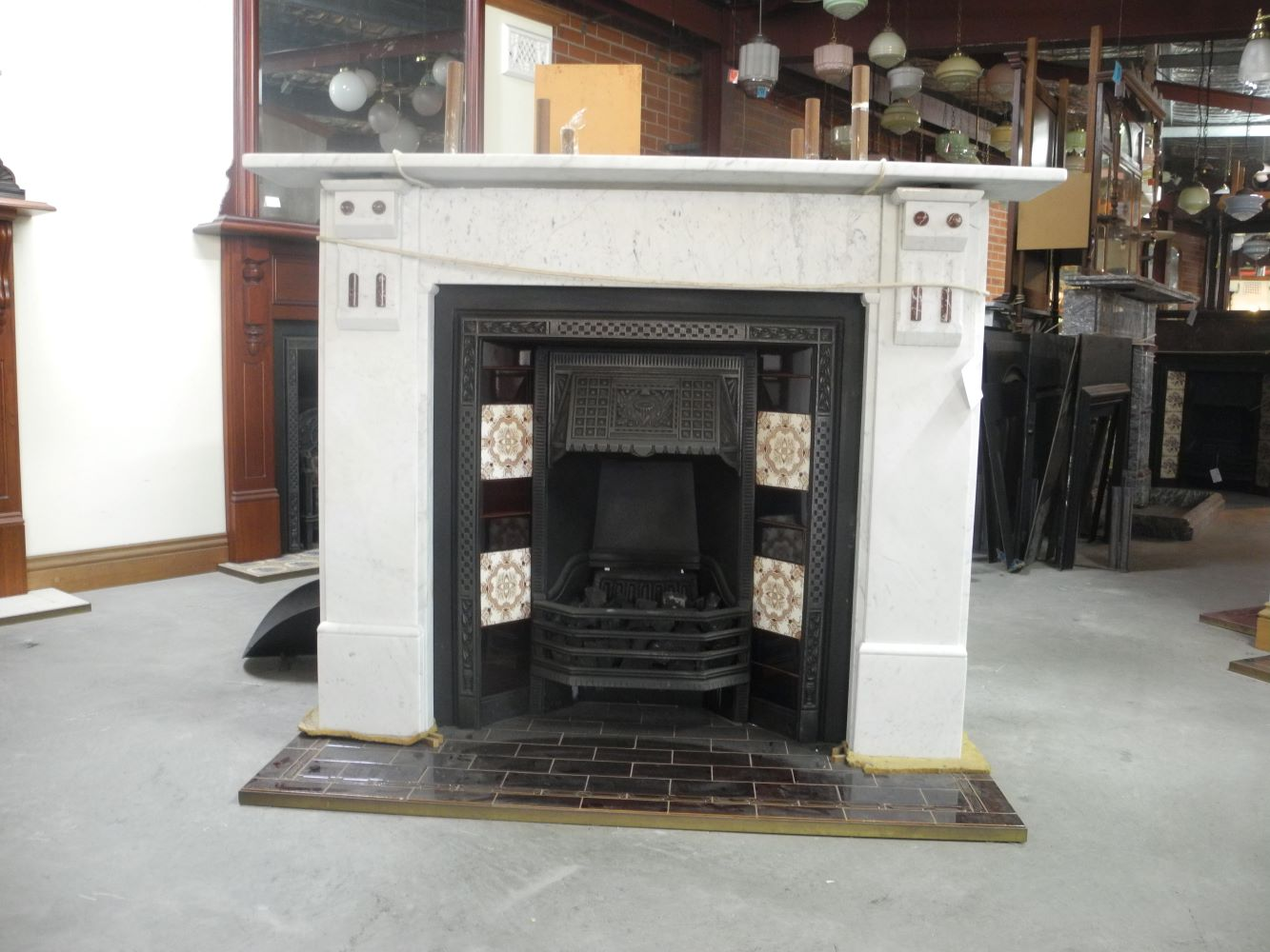 Large Turn Of The Century Marble Fire Surround Chippendale Restorations